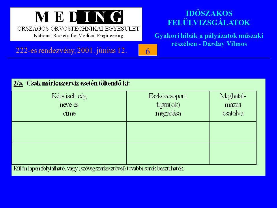 IDŐSZAKOS FELÜLVIZSGÁLATOK Gyakori hibák a pályázatok műszaki részében - Dárday Vilmos 222-es rendezvény, 2001. június 12.6 6