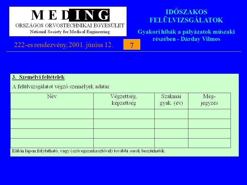 IDŐSZAKOS FELÜLVIZSGÁLATOK Gyakori hibák a pályázatok műszaki részében - Dárday Vilmos 222-es rendezvény, 2001. június 12.7 7