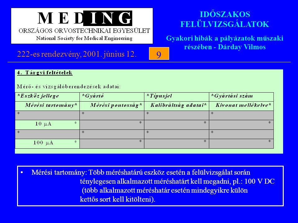 IDŐSZAKOS FELÜLVIZSGÁLATOK Gyakori hibák a pályázatok műszaki részében - Dárday Vilmos 222-es rendezvény, 2001. június 12.9 9 Mérési tartomány: Több m