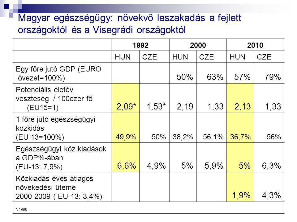 199220002010 HUNCZEHUNCZEHUNCZE Egy főre jutó GDP (EURO övezet=100%) 50%63%57%79% Potenciális életév veszteség / 100ezer fő (EU15=1) 2,09*1,53*2,191,3