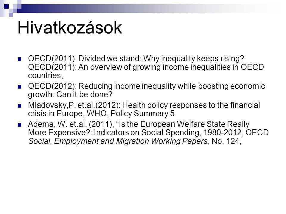 Hivatkozások OECD(2011): Divided we stand: Why inequality keeps rising.
