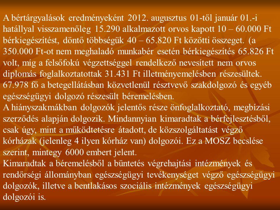 A bértárgyalások eredményeként 2012. augusztus 01-től január 01.-i hatállyal visszamenőleg 15.290 alkalmazott orvos kapott 10 – 60.000 Ft bérkiegészít