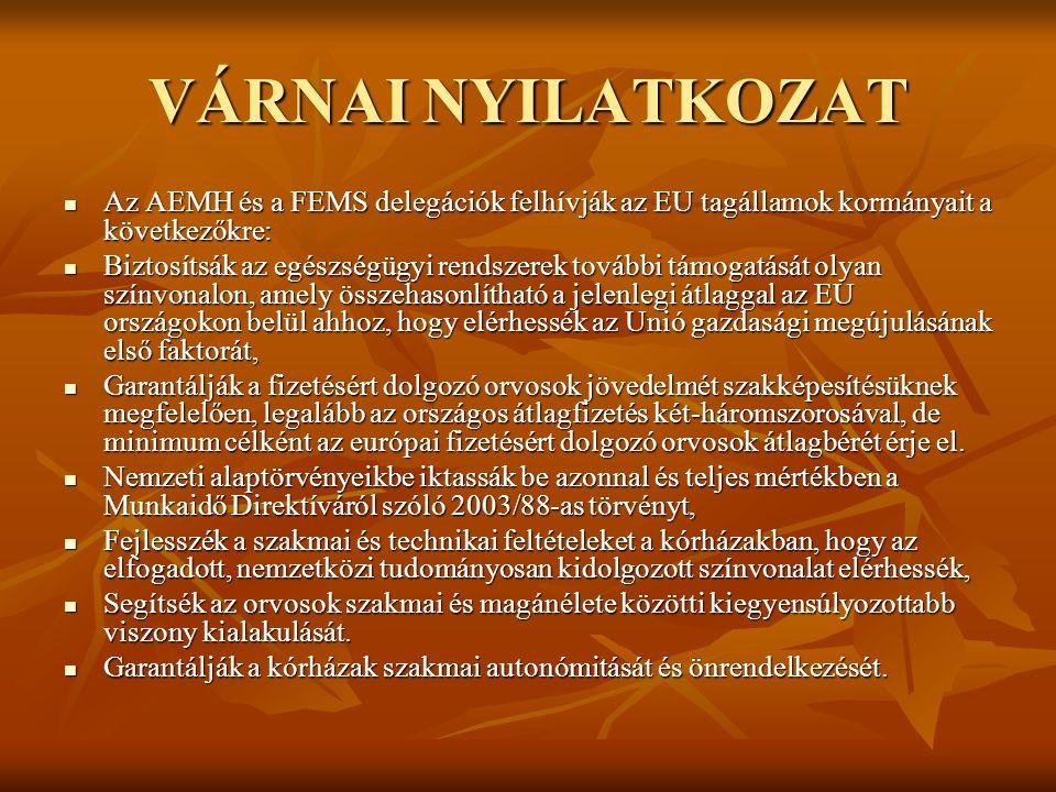 VÁRNAI NYILATKOZAT Az AEMH és a FEMS delegációk felhívják az EU tagállamok kormányait a következőkre: Az AEMH és a FEMS delegációk felhívják az EU tag