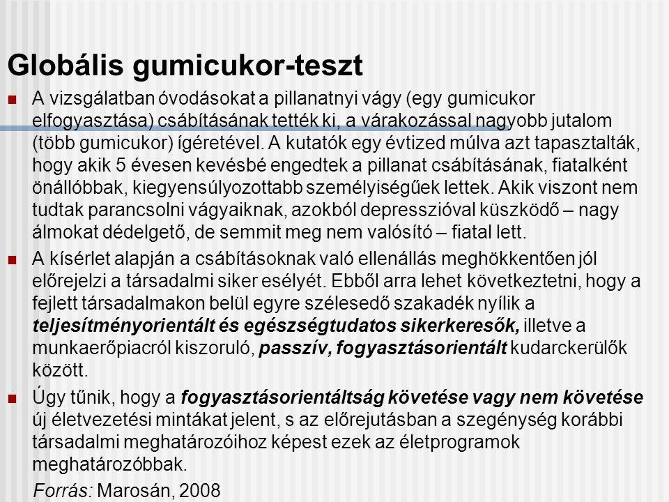 Globális gumicukor-teszt A vizsgálatban óvodásokat a pillanatnyi vágy (egy gumicukor elfogyasztása) csábításának tették ki, a várakozással nagyobb jutalom (több gumicukor) ígéretével.