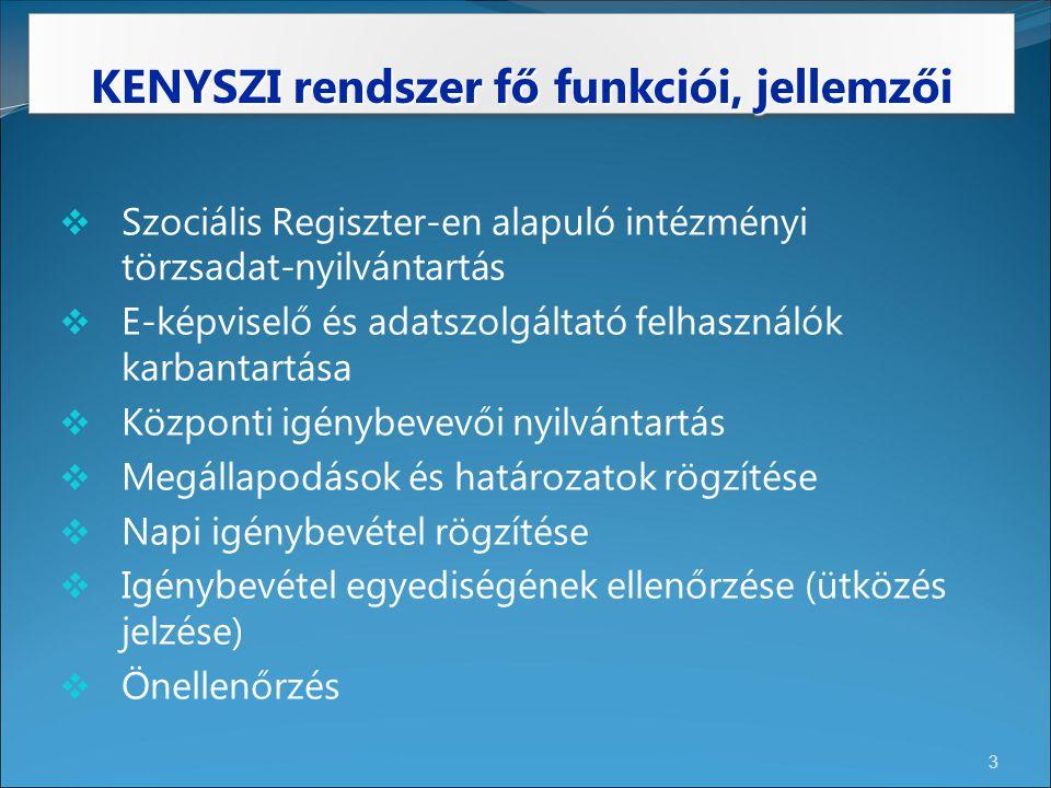 KENYSZI rendszer fő funkciói, jellemzői 3  Szociális Regiszter-en alapuló intézményi törzsadat-nyilvántartás  E-képviselő és adatszolgáltató felhasz