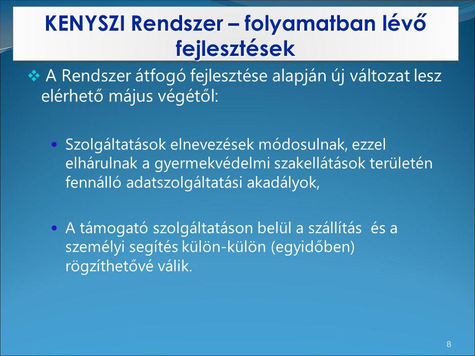 KENYSZI Rendszer – folyamatban lévő fejlesztések 8  A Rendszer átfogó fejlesztése alapján új változat lesz elérhető május végétől: Szolgáltatások eln