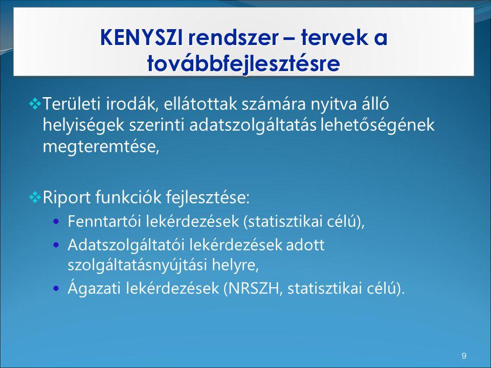 KENYSZI rendszer – tervek a továbbfejlesztésre 9  Területi irodák, ellátottak számára nyitva álló helyiségek szerinti adatszolgáltatás lehetőségének