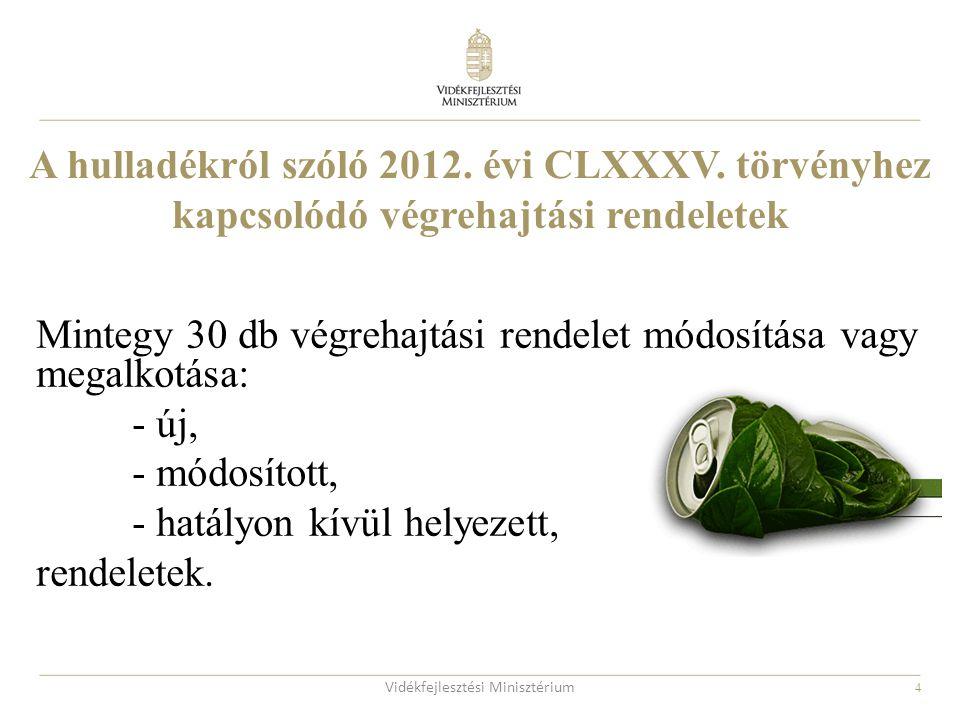 4 A hulladékról szóló 2012. évi CLXXXV. törvényhez kapcsolódó végrehajtási rendeletek Mintegy 30 db végrehajtási rendelet módosítása vagy megalkotása: