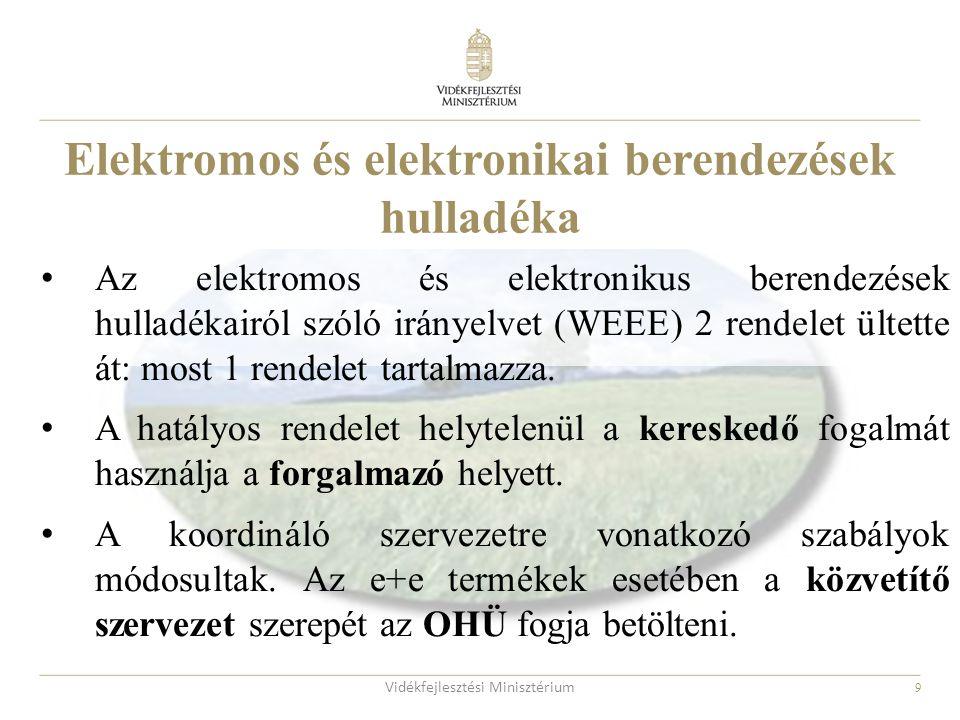 9 Az elektromos és elektronikus berendezések hulladékairól szóló irányelvet (WEEE) 2 rendelet ültette át: most 1 rendelet tartalmazza. A hatályos rend