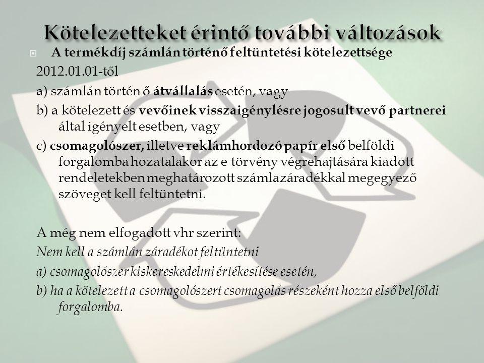 A termékdíj számlán történő feltüntetési kötelezettsége 2012.01.01-től a) számlán történ ő átvállalás esetén, vagy b) a kötelezett és vevőinek vissz