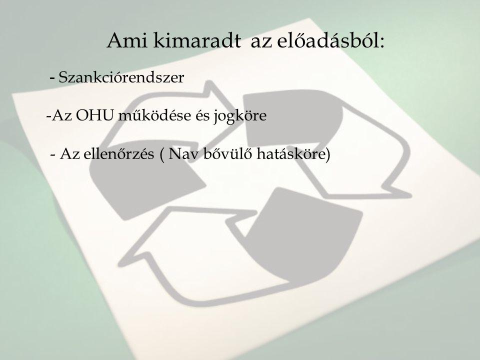 Ami kimaradt az előadásból: - Szankciórendszer -Az OHU működése és jogköre - Az ellenőrzés ( Nav bővülő hatásköre)