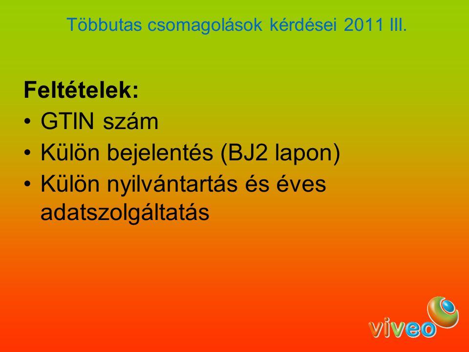 Többutas csomagolások kérdései 2011 III. Feltételek: GTIN szám Külön bejelentés (BJ2 lapon) Külön nyilvántartás és éves adatszolgáltatás