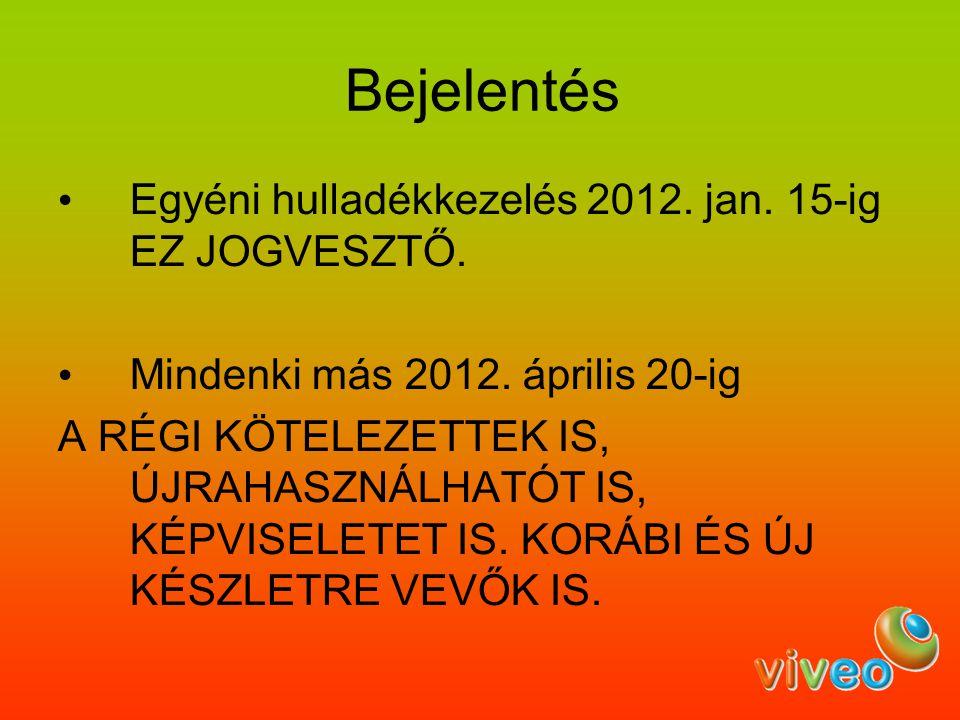 Bejelentés Egyéni hulladékkezelés 2012. jan. 15-ig EZ JOGVESZTŐ. Mindenki más 2012. április 20-ig A RÉGI KÖTELEZETTEK IS, ÚJRAHASZNÁLHATÓT IS, KÉPVISE