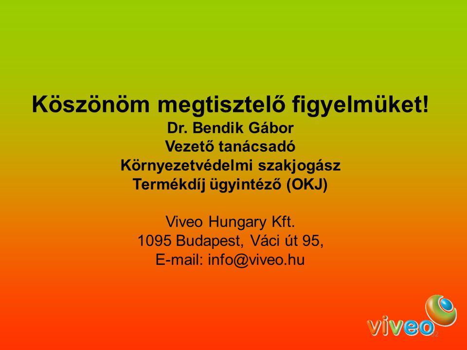 Köszönöm megtisztelő figyelmüket! Dr. Bendik Gábor Vezető tanácsadó Környezetvédelmi szakjogász Termékdíj ügyintéző (OKJ) Viveo Hungary Kft. 1095 Buda