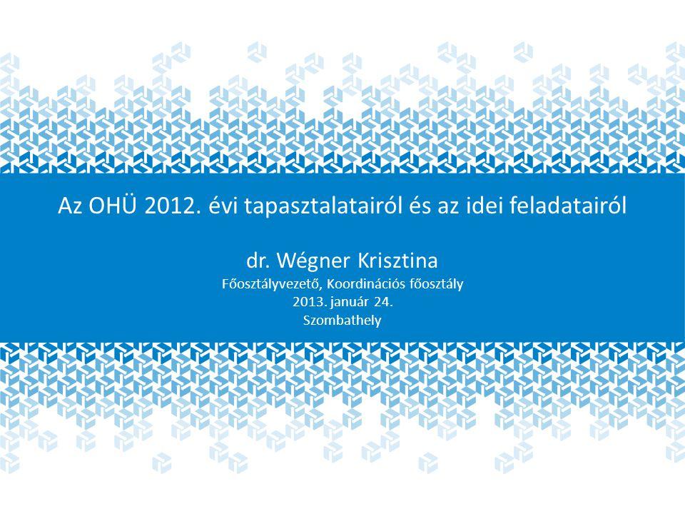 Az OHÜ 2012. évi tapasztalatairól és az idei feladatairól dr.