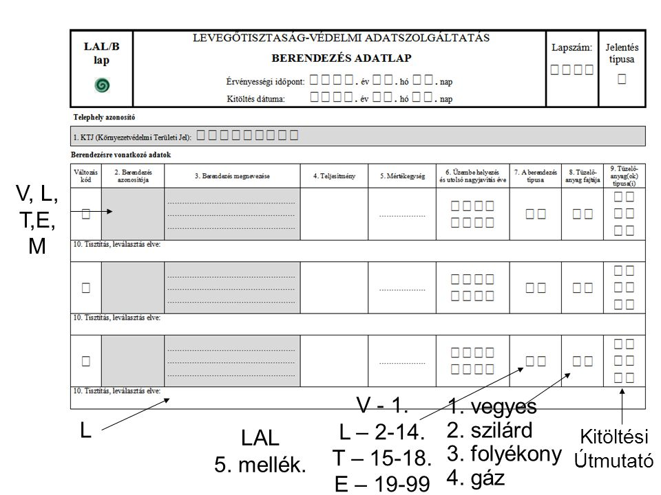 1. vegyes 2. szilárd 3. folyékony 4. gáz V, L, T,E, M Kitöltési Útmutató LAL 5. mellék. V - 1. L – 2-14. T – 15-18. E – 19-99 L