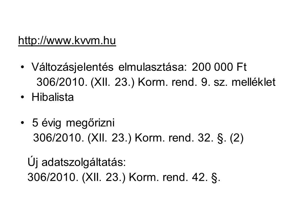 http://www.kvvm.hu Változásjelentés elmulasztása: 200 000 Ft 306/2010. (XII. 23.) Korm. rend. 9. sz. melléklet Hibalista 5 évig megőrizni 306/2010. (X