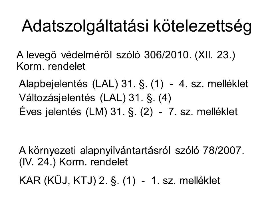 Adatszolgáltatási kötelezettség A levegő védelméről szóló 306/2010. (XII. 23.) Korm. rendelet Alapbejelentés (LAL) 31. §. (1) - 4. sz. melléklet Válto
