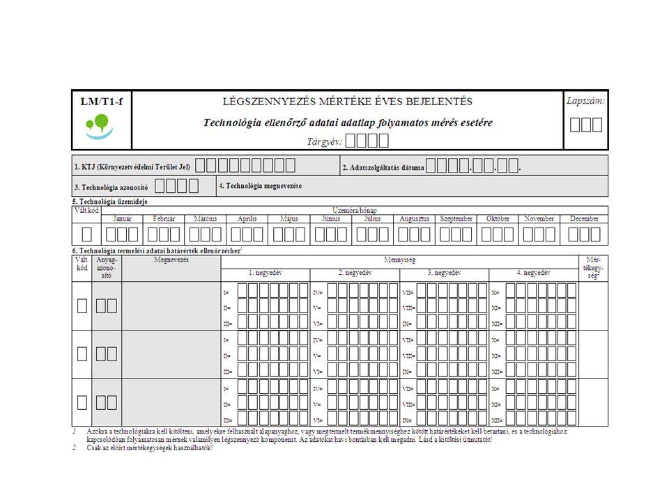 O N T E T→TA1 LM 3. mellék. nem VOC LAL 4. mellék. EWC 16/2001 KöM LAL 1. és 2. mellék.