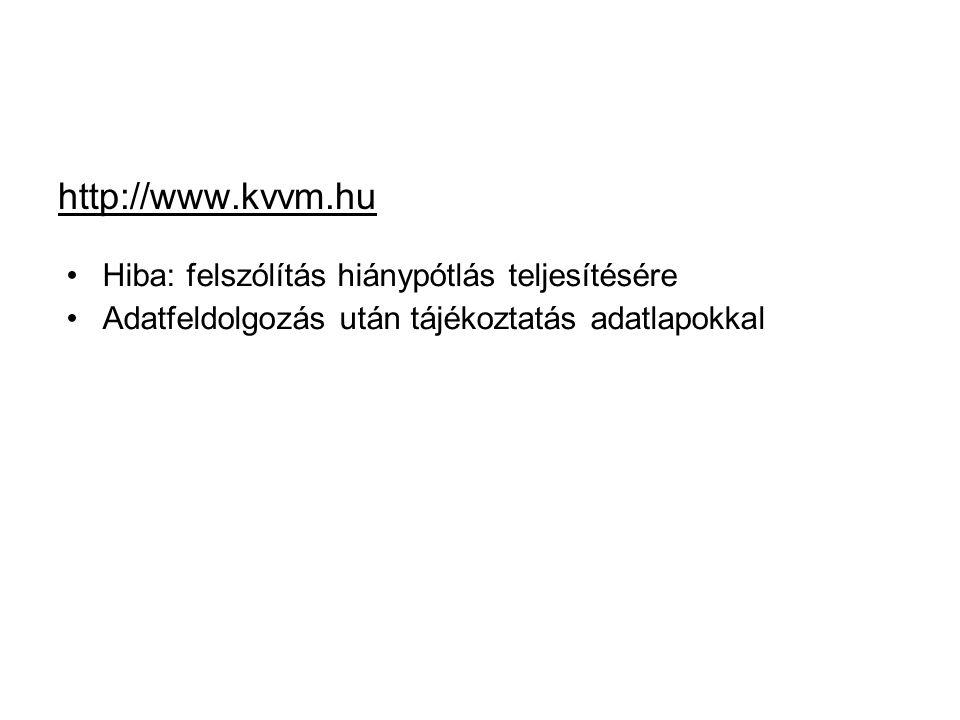 http://www.kvvm.hu Hiba: felszólítás hiánypótlás teljesítésére Adatfeldolgozás után tájékoztatás adatlapokkal