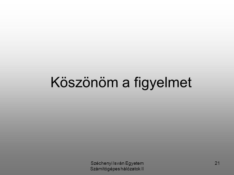 Széchenyi Isván Egyetem Számítógépes hálózatok II 21 Köszönöm a figyelmet