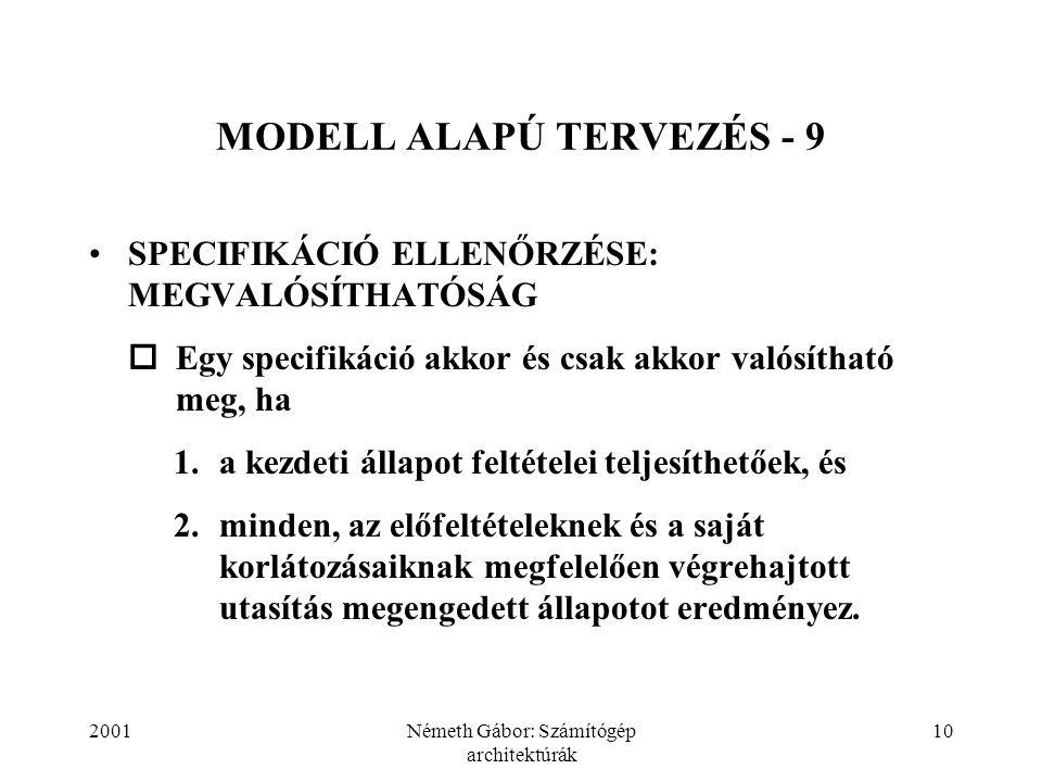 2001Németh Gábor: Számítógép architektúrák 10 MODELL ALAPÚ TERVEZÉS - 9 SPECIFIKÁCIÓ ELLENŐRZÉSE: MEGVALÓSÍTHATÓSÁG  Egy specifikáció akkor és csak a