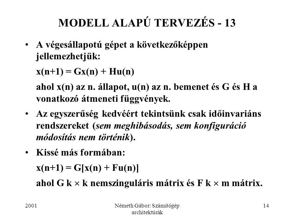 2001Németh Gábor: Számítógép architektúrák 14 MODELL ALAPÚ TERVEZÉS - 13 A végesállapotú gépet a következőképpen jellemezhetjük: x(n+1) = Gx(n) + Hu(n