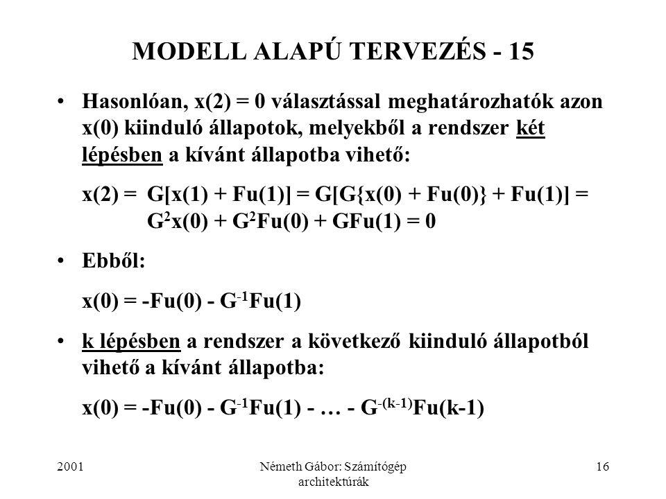 2001Németh Gábor: Számítógép architektúrák 16 MODELL ALAPÚ TERVEZÉS - 15 Hasonlóan, x(2) = 0 választással meghatározhatók azon x(0) kiinduló állapotok
