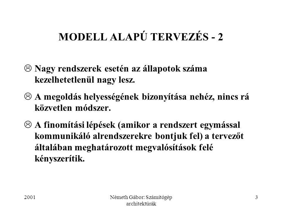 2001Németh Gábor: Számítógép architektúrák 3 MODELL ALAPÚ TERVEZÉS - 2  Nagy rendszerek esetén az állapotok száma kezelhetetlenül nagy lesz.  A mego