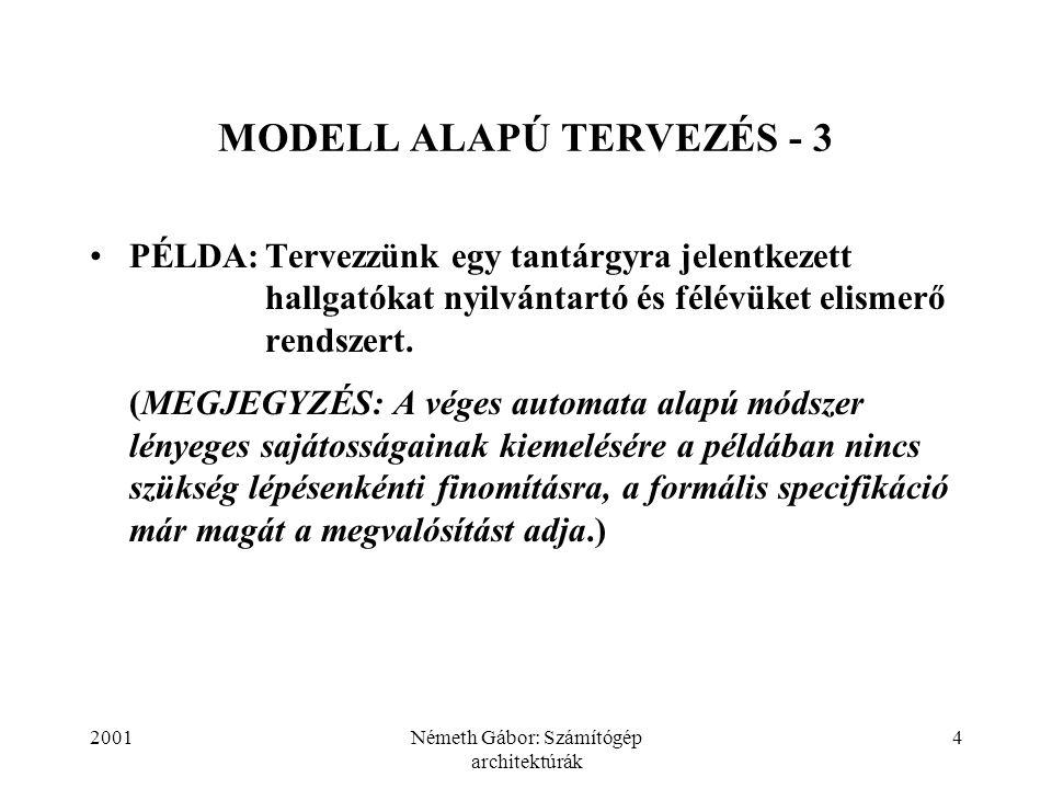 2001Németh Gábor: Számítógép architektúrák 4 MODELL ALAPÚ TERVEZÉS - 3 PÉLDA:Tervezzünk egy tantárgyra jelentkezett hallgatókat nyilvántartó és félévü