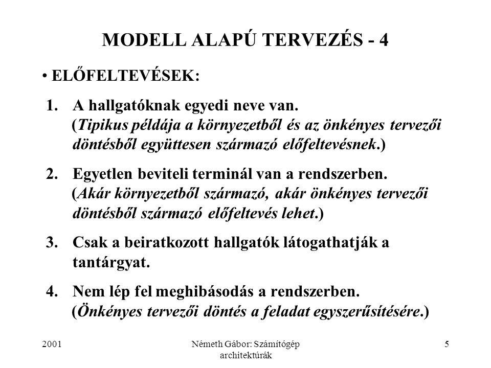 2001Németh Gábor: Számítógép architektúrák 5 MODELL ALAPÚ TERVEZÉS - 4 ELŐFELTEVÉSEK: 1.A hallgatóknak egyedi neve van. (Tipikus példája a környezetbő