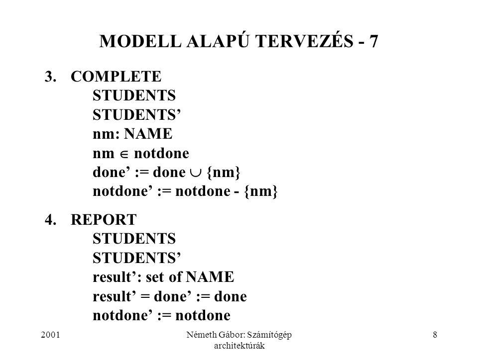 2001Németh Gábor: Számítógép architektúrák 8 MODELL ALAPÚ TERVEZÉS - 7 3.COMPLETE STUDENTS STUDENTS' nm: NAME nm  notdone done' := done  {nm} notdon