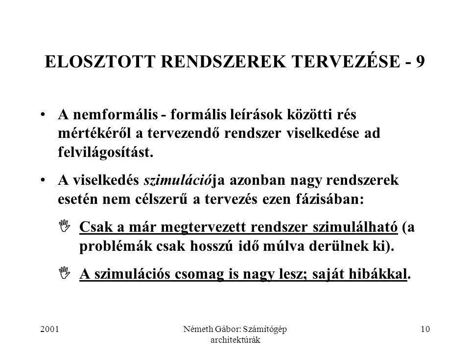 2001Németh Gábor: Számítógép architektúrák 10 ELOSZTOTT RENDSZEREK TERVEZÉSE - 9 A nemformális - formális leírások közötti rés mértékéről a tervezendő rendszer viselkedése ad felvilágosítást.
