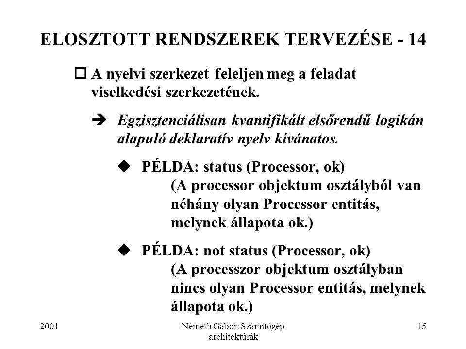 2001Németh Gábor: Számítógép architektúrák 15 ELOSZTOTT RENDSZEREK TERVEZÉSE - 14  A nyelvi szerkezet feleljen meg a feladat viselkedési szerkezetének.