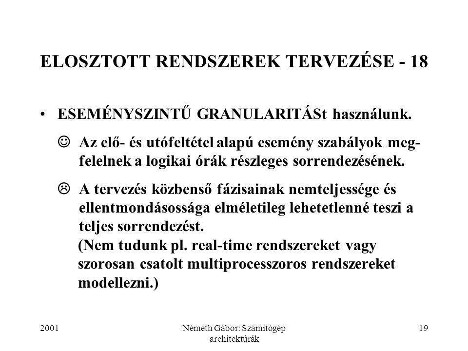 2001Németh Gábor: Számítógép architektúrák 19 ELOSZTOTT RENDSZEREK TERVEZÉSE - 18 ESEMÉNYSZINTŰ GRANULARITÁSt használunk.