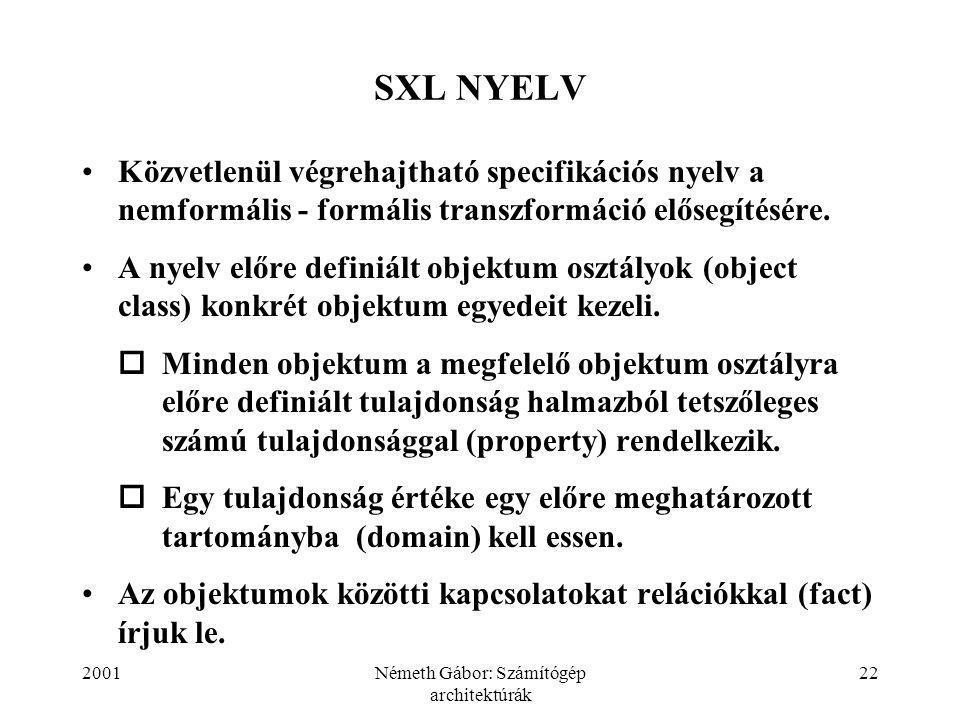 2001Németh Gábor: Számítógép architektúrák 22 SXL NYELV Közvetlenül végrehajtható specifikációs nyelv a nemformális - formális transzformáció elősegítésére.