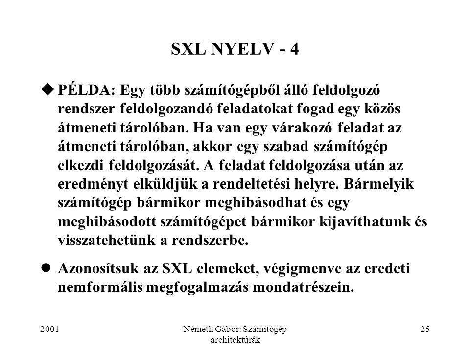 2001Németh Gábor: Számítógép architektúrák 25 SXL NYELV - 4  PÉLDA: Egy több számítógépből álló feldolgozó rendszer feldolgozandó feladatokat fogad egy közös átmeneti tárolóban.