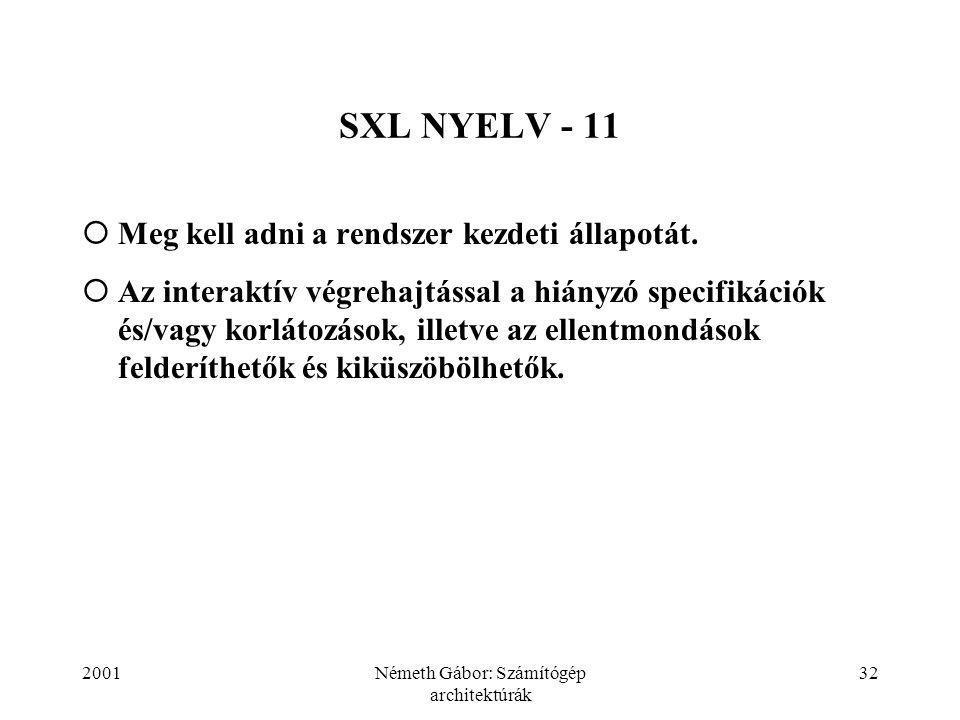 2001Németh Gábor: Számítógép architektúrák 32 SXL NYELV - 11  Meg kell adni a rendszer kezdeti állapotát.