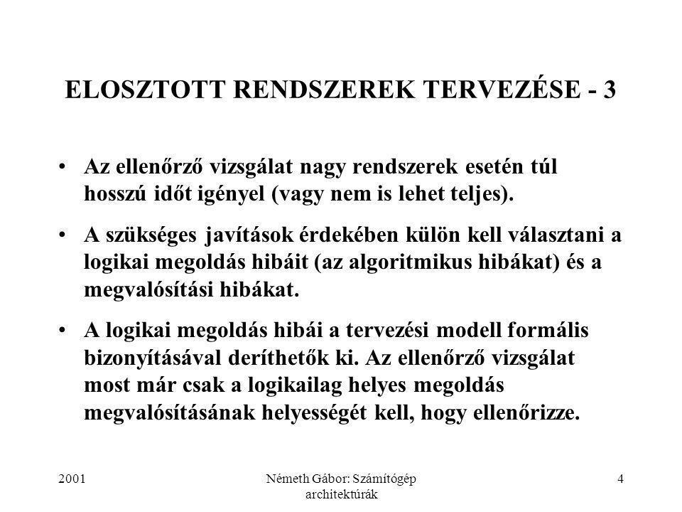 2001Németh Gábor: Számítógép architektúrák 4 ELOSZTOTT RENDSZEREK TERVEZÉSE - 3 Az ellenőrző vizsgálat nagy rendszerek esetén túl hosszú időt igényel (vagy nem is lehet teljes).