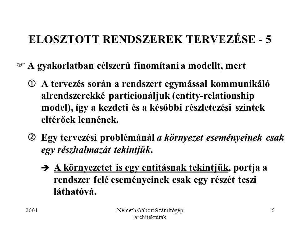 2001Németh Gábor: Számítógép architektúrák 7 ELOSZTOTT RENDSZEREK TERVEZÉSE - 6 KÖRNYEZET RENDSZER PORT Következmény: a rendszer specifikációit a rendszer által megfigyelhető eseményekre kell alapozni!