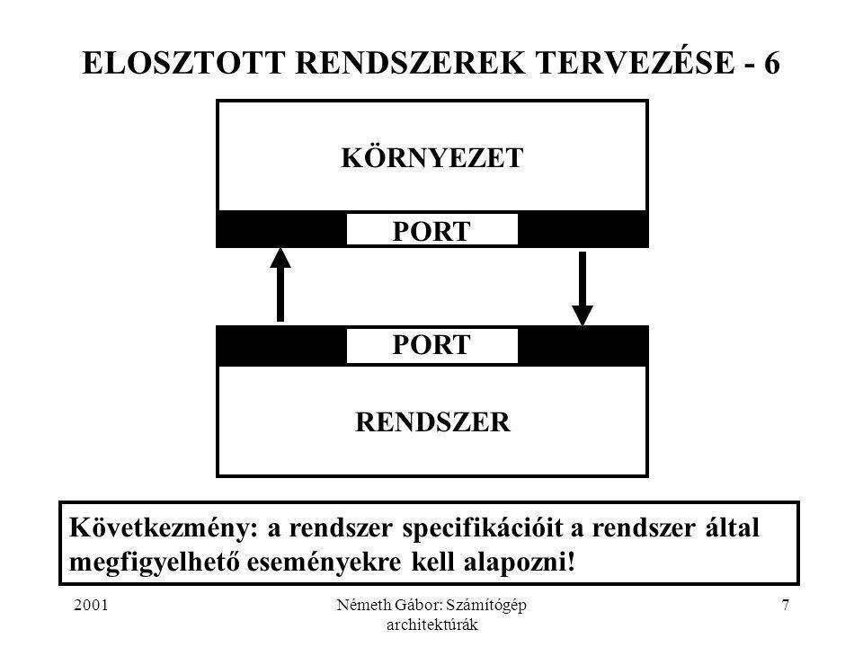 2001Németh Gábor: Számítógép architektúrák 8 ELOSZTOTT RENDSZEREK TERVEZÉSE - 7 Kezdetben a megoldandó feladat nemformális, nemteljes és ellentmondásokat tartalmazó megfogalmazása áll rendelkezésünkre.