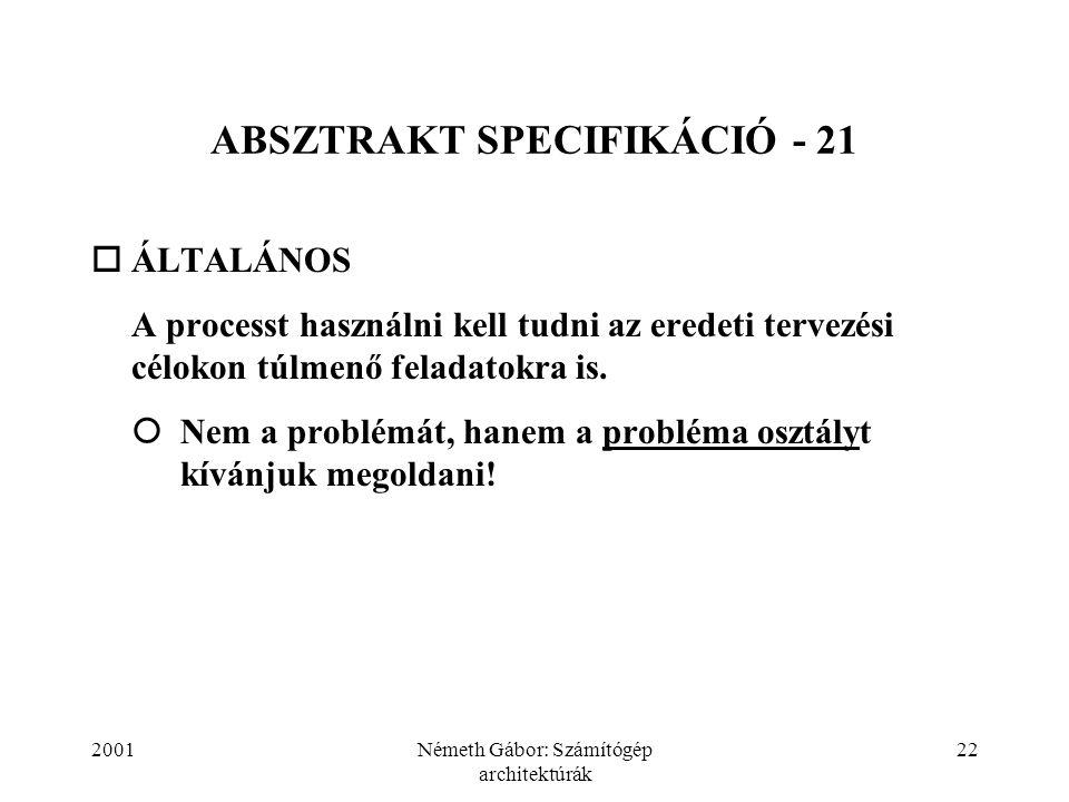 2001Németh Gábor: Számítógép architektúrák 22 ABSZTRAKT SPECIFIKÁCIÓ - 21  ÁLTALÁNOS  A processt használni kell tudni az eredeti tervezési célokon túlmenő feladatokra is.