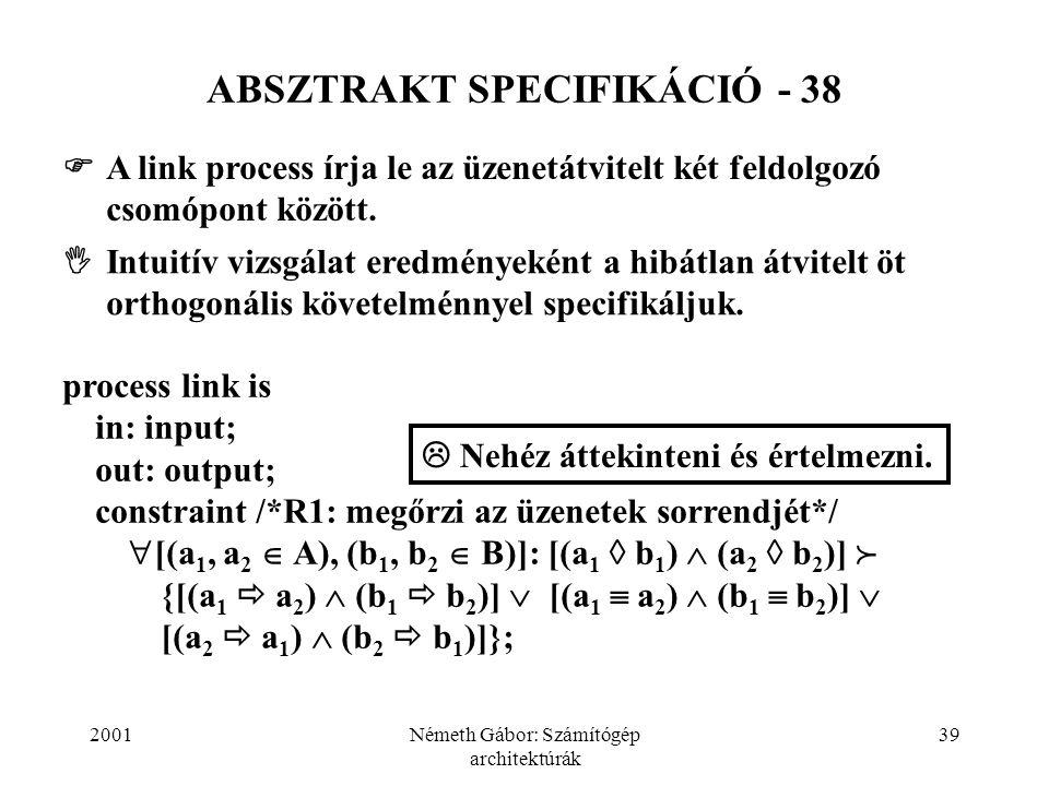 2001Németh Gábor: Számítógép architektúrák 39 ABSZTRAKT SPECIFIKÁCIÓ - 38  A link process írja le az üzenetátvitelt két feldolgozó csomópont között.