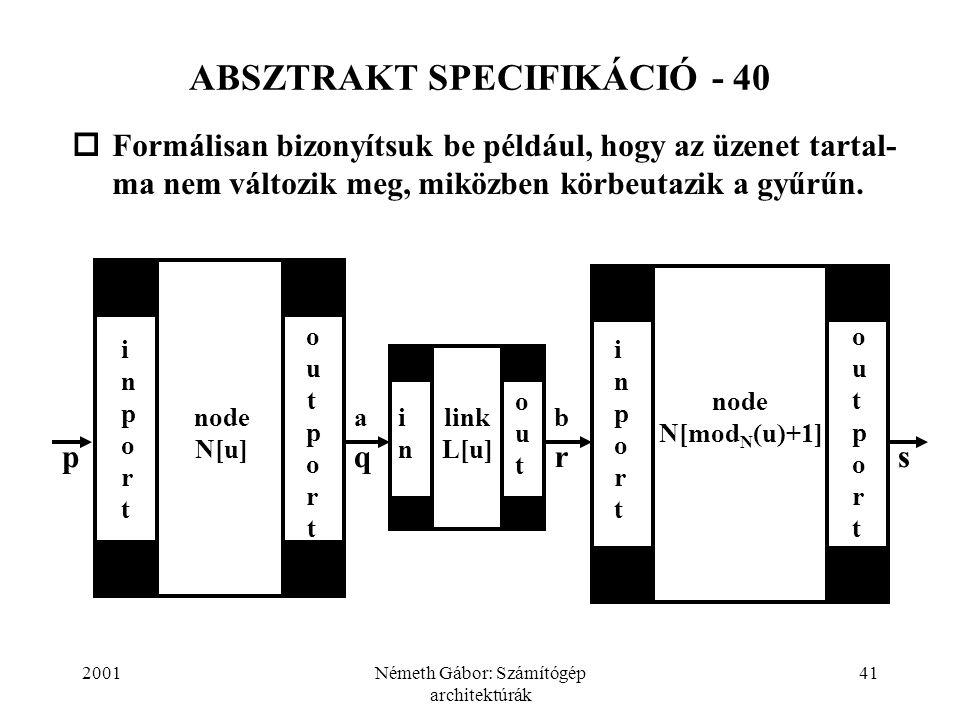 2001Németh Gábor: Számítógép architektúrák 41 ABSZTRAKT SPECIFIKÁCIÓ - 40  Formálisan bizonyítsuk be például, hogy az üzenet tartal- ma nem változik meg, miközben körbeutazik a gyűrűn.