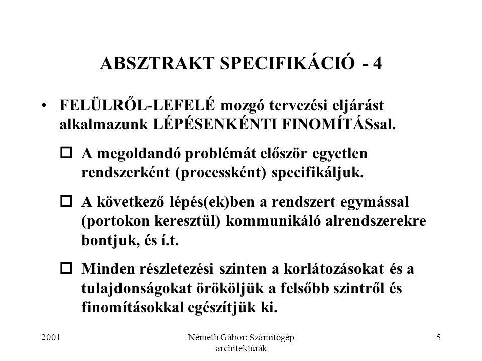 2001Németh Gábor: Számítógép architektúrák 36 ABSZTRAKT SPECIFIKÁCIÓ - 35 inportinport node N[u] node N[mod N (u)+1] inportinport outportoutport outout link L[u] inin outportoutport ab port input is operation receive (a  b); constraint [(a  A)  (b  B)] end input.