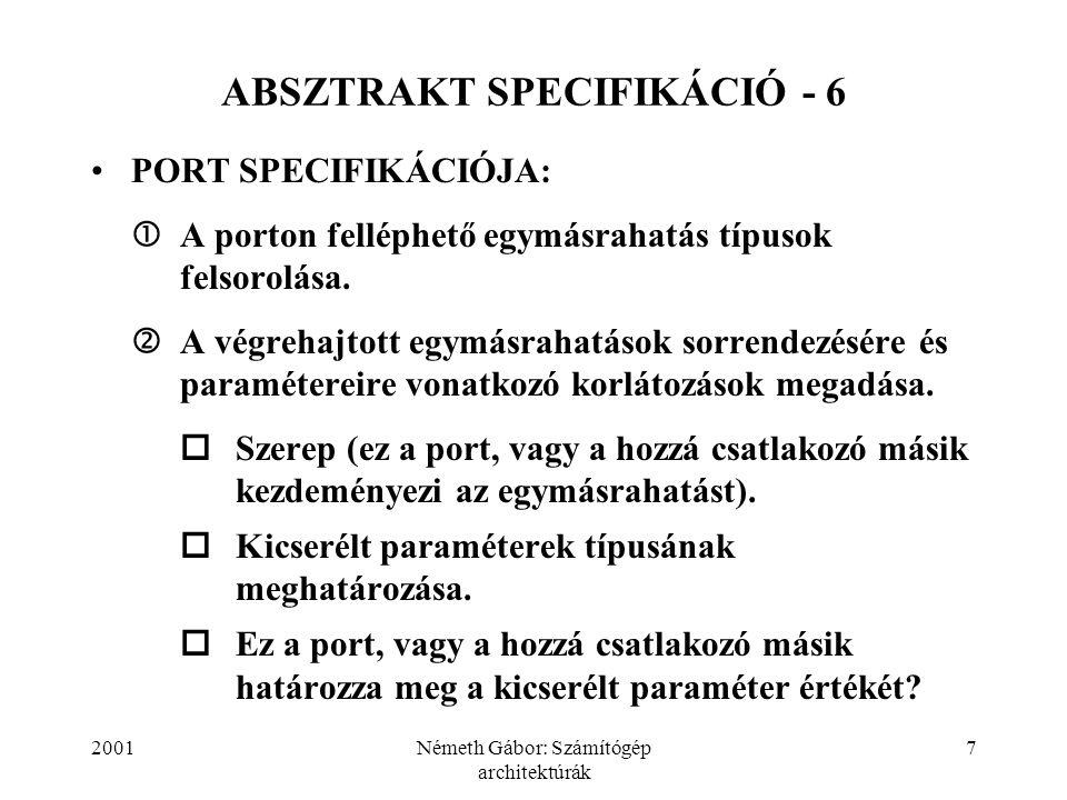 2001Németh Gábor: Számítógép architektúrák 38 ABSZTRAKT SPECIFIKÁCIÓ - 37 process node is inport: input; outport: output; constraint (outport/a) i  (outport/a) i+1 ; ƒ 1 (inport/b) i  (outport/a) i end node.