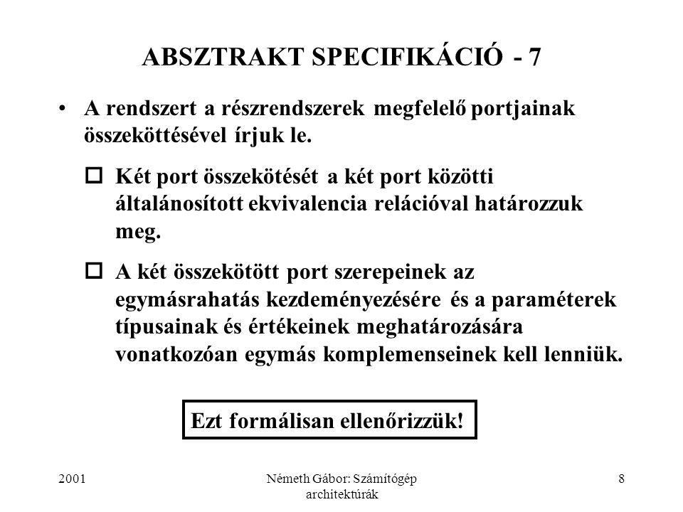 2001Németh Gábor: Számítógép architektúrák 8 ABSZTRAKT SPECIFIKÁCIÓ - 7 A rendszert a részrendszerek megfelelő portjainak összeköttésével írjuk le.