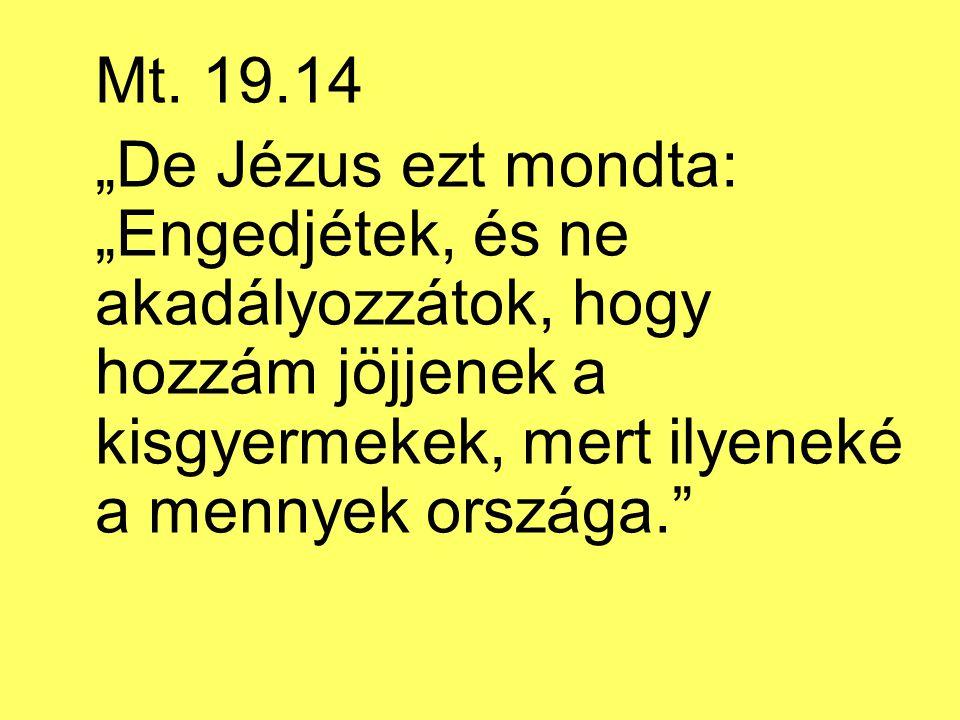 """Mt. 19.14 """"De Jézus ezt mondta: """"Engedjétek, és ne akadályozzátok, hogy hozzám jöjjenek a kisgyermekek, mert ilyeneké a mennyek országa."""""""