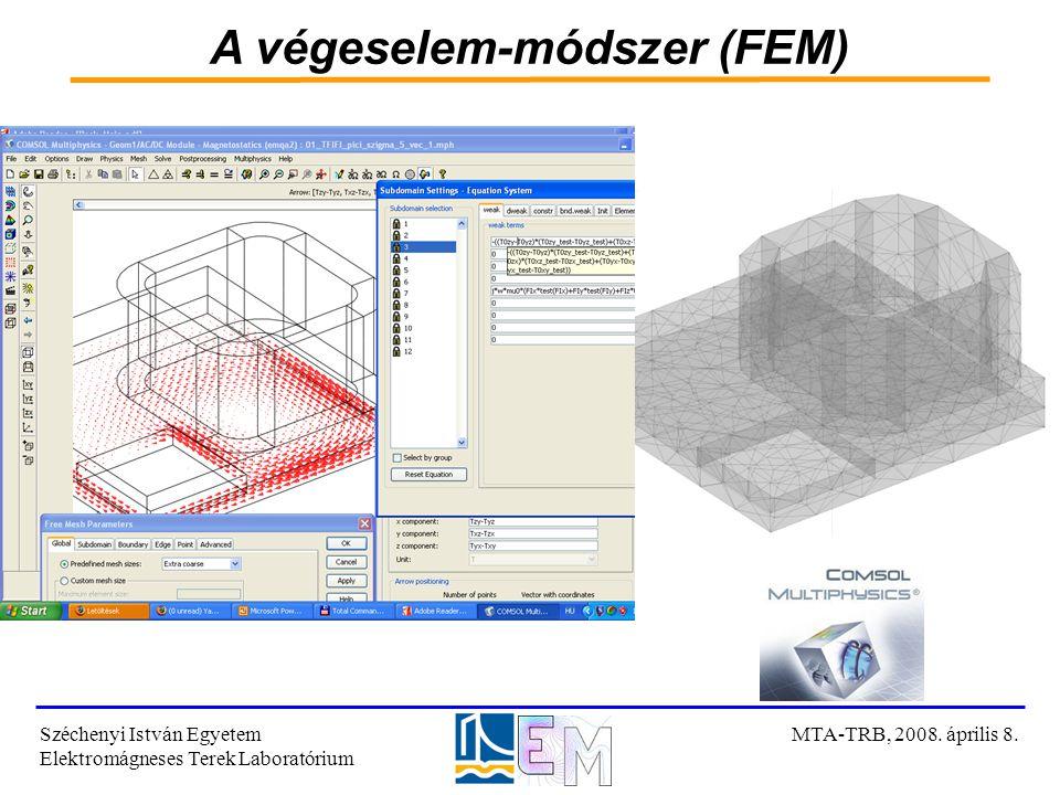 A végeselem-módszer (FEM) Széchenyi István Egyetem Elektromágneses Terek Laboratórium MTA-TRB, 2008. április 8.