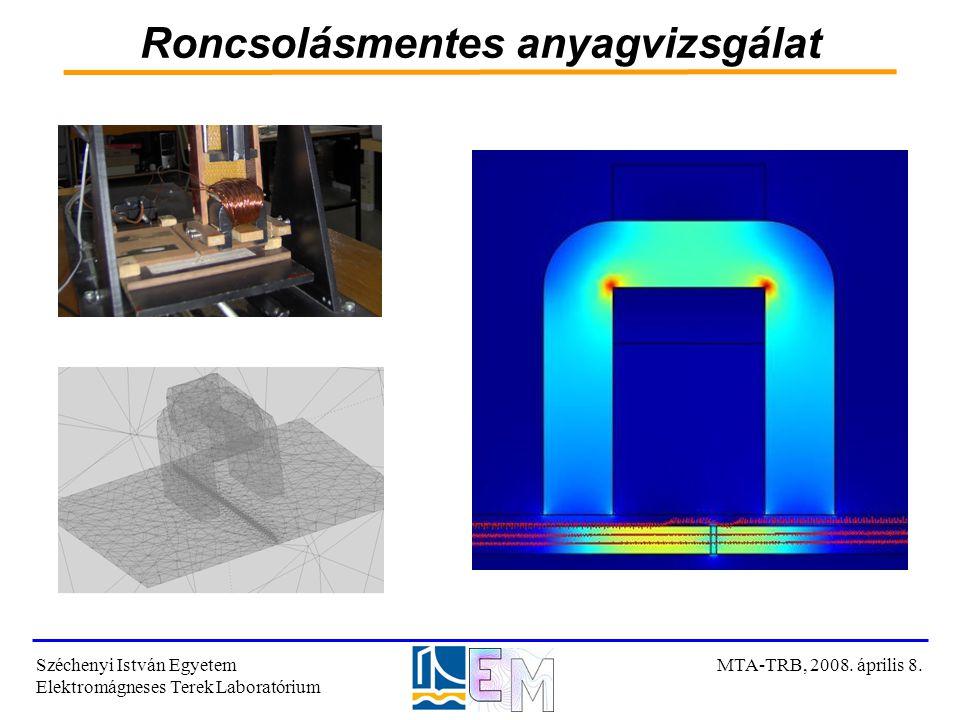 Roncsolásmentes anyagvizsgálat Széchenyi István Egyetem Elektromágneses Terek Laboratórium MTA-TRB, 2008. április 8.